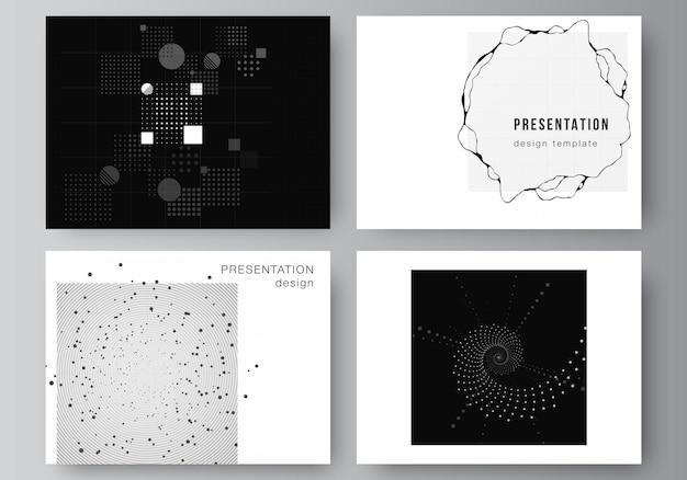 Wektor układ slajdów prezentacji projektowania szablonów biznesowych, szablon prezentacji broszury, okładka broszury, raport. streszczenie technologia czarny kolor nauki tła. zaawansowana koncepcja technologiczna.
