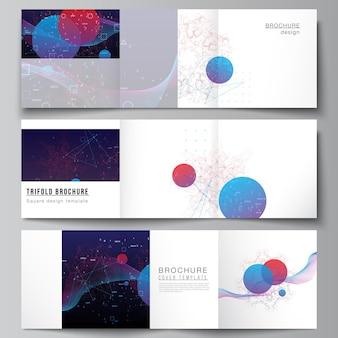Wektor układ szablonów kwadratowych obejmuje broszurę trójdzielną, ulotkę, projekt okładki, projekt książki, okładkę broszury. sztuczna inteligencja, wizualizacja big data. koncepcja technologii komputera kwantowego.