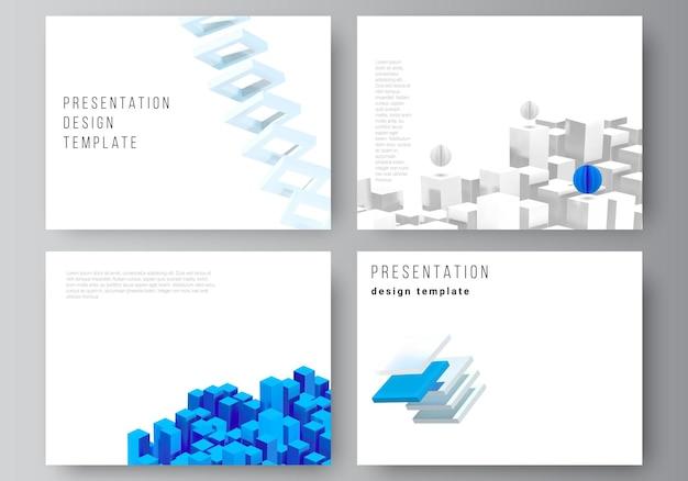 Wektor układ szablonów projektu slajdów prezentacji, szablon broszury prezentacji, okładka broszury, raport biznesowy. 3d render kompozycji wektorowej z realistycznymi geometrycznymi niebieskimi kształtami w ruchu.