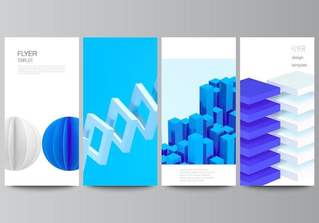 Wektor układ ulotki, szablony banerów do projektowania reklam na stronie internetowej, pionowy projekt ulotki, tła dekoracji strony internetowej. kompozycja wektorów renderowania 3d z realistycznymi geometrycznymi niebieskimi kształtami