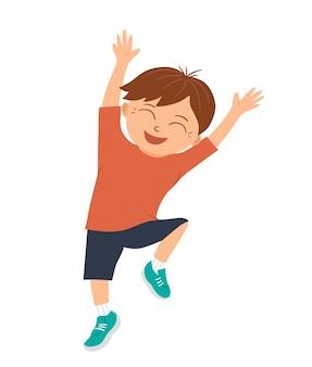Wektor uśmiechnięty chłopiec skacze z radości i szczęścia z rękami do góry. radosna, zachwycona, wesoła postać dziecka. zabawne zdjęcie dziecka do projektowania dla dzieci.