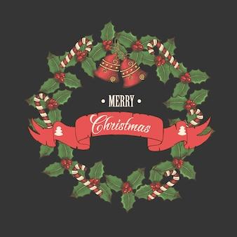 Wektor vintage kartki świąteczne, wieniec z liści ostrokrzewu, dzwony i cukierki z napisem pozdrowienia na czarno.
