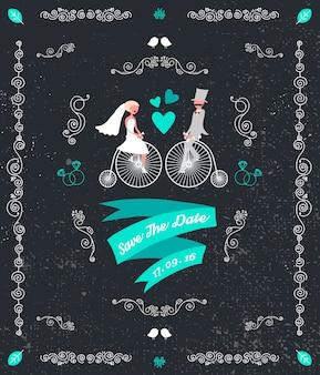 Wektor vintage retro wesele zaproszenie ręcznie rysowane elementy projektu pana młodego i panny młodej, siedząc