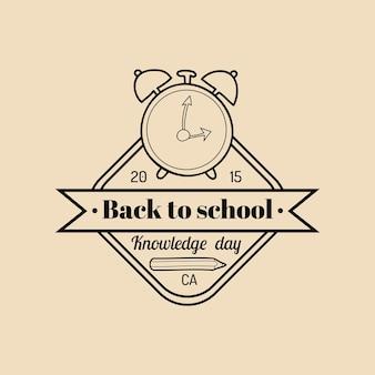 Wektor vintage witamy z powrotem do szkoły logo lub znaczek. retro znak z budzikiem. ikona edukacji dzieci. koncepcja projektu dzień wiedzy.