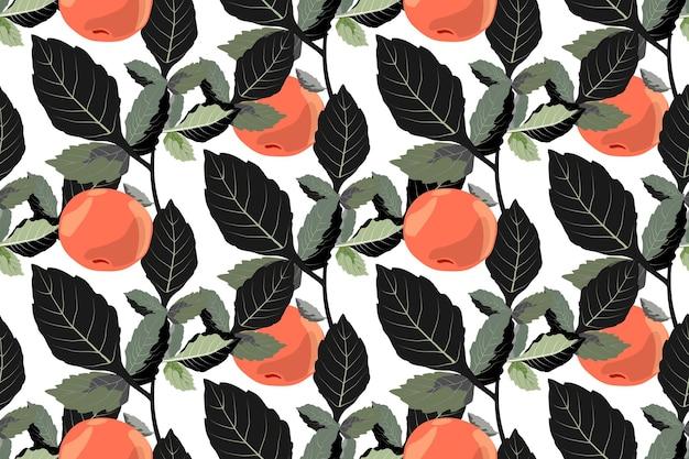 Wektor warzyw bez szwu ornament z mandarynki owoce pomarańczowe z ciemnozielonymi liśćmi