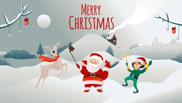 Wektor wesołych świąt bożego narodzenia plakat mikołaj