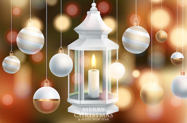 Wektor wesołych świąt i szczęśliwego nowego roku kartkę z życzeniami etykietę zdobione
