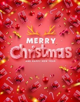 Wektor wesołych świąt i szczęśliwego nowego roku plakat promocyjny lub baner