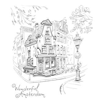 Wektor widok na miasto amsterdam dom i latarnia