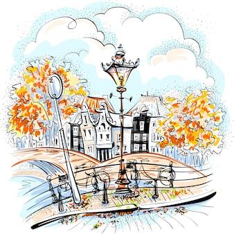 Wektor widok na miasto amsterdam mosty