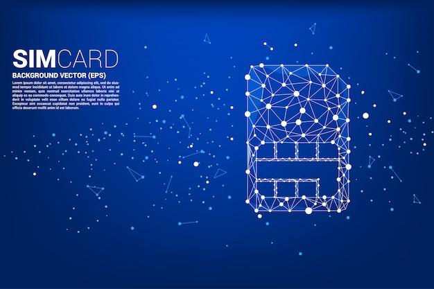 Wektor wielobok kropka połączyć ikonę karty sim w kształcie linii