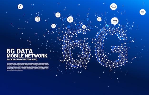 Wektor wielokąt kropka łączy sieć komórkową 6g w kształcie linii. koncepcja technologii danych telefonu komórkowego.