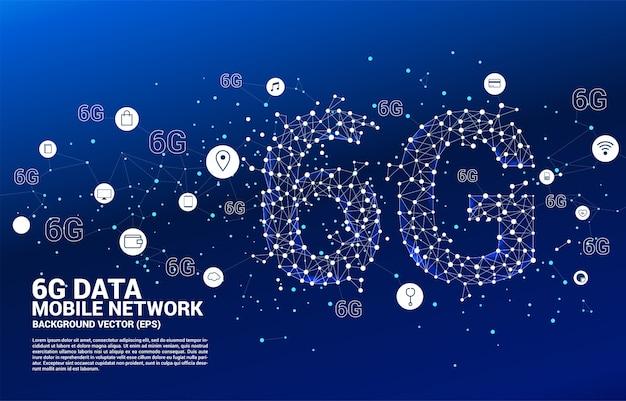 Wektor wielokąta kropka łączy sieć komórkową 6g w kształcie linii z ikoną funkcji