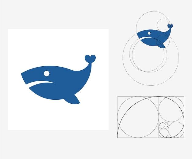 Wektor wieloryb w stylu złotego podziału. edytowalna ilustracja