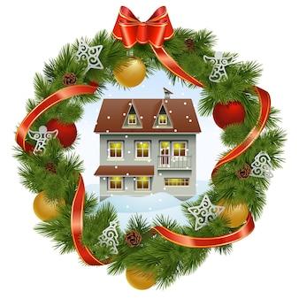 Wektor wieniec bożonarodzeniowy z domem na białym tle