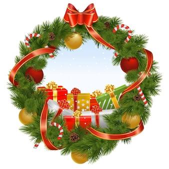 Wektor wieniec bożonarodzeniowy z tłem na białym tle