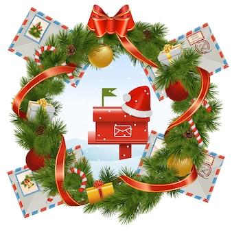 Wektor wieniec bożonarodzeniowy ze skrzynką pocztową na białym tle