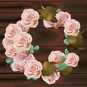 Wektor wieniec kwiatów róży. delikatna różowa kwiecista round rama. walentynki karty. dark wo
