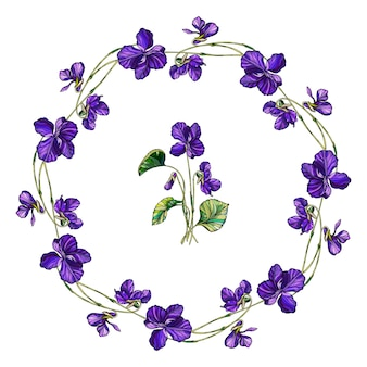 Wektor wieniec kwiatowy kwiaty fiołków.