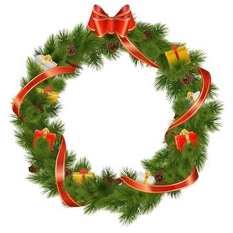 Wektor wieniec świąteczny z prezentami na białym tle