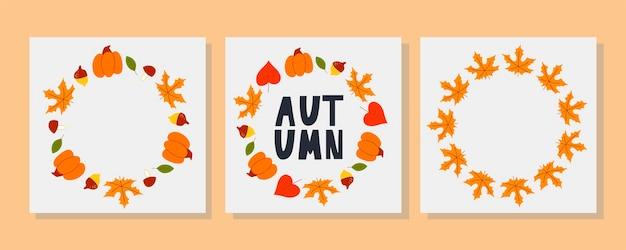 Wektor wieniec z jesiennych liści i owoców w stylu przypominającym akwarele. piękny okrągły wieniec z żółtych i czerwonych liści, żołędzi, jagód, szyszek i gałęzi. wystrój na zaproszenia, kartki okolicznościowe, plakaty.