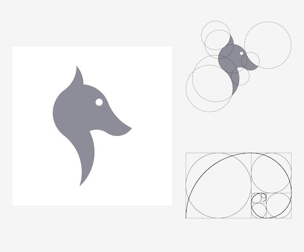 Wektor wilk w stylu złotego podziału. edytowalna ilustracja