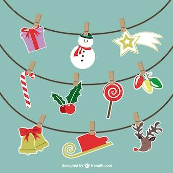 Wektor wiszące ozdoby świąteczne