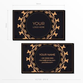 Wektor wizytówki szablon z luksusowym ornamentem. szablon do druku wizytówek czarny kolor z greckimi wzorami.