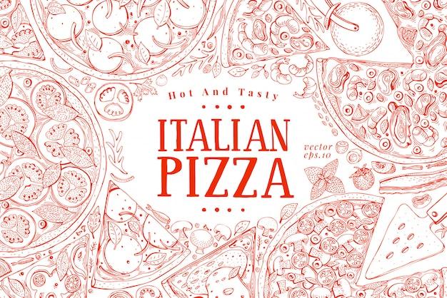 Wektor włoska pizza rama widok z góry.