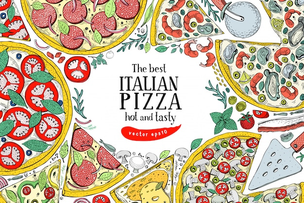 Wektor włoski pizzy widok z góry kolorowe ramki. szablon projektu transparentu żywności.