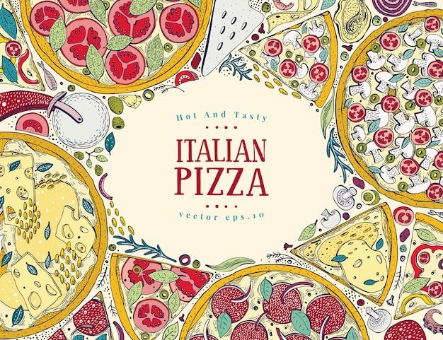 Wektor włoski pizzy widok z góry kolorowe ramki.