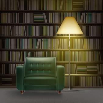 Wektor wnętrza biblioteki domowej z dużym regałem pełnym różnych książek, zielonym fotelem i płonącą lampą podłogową