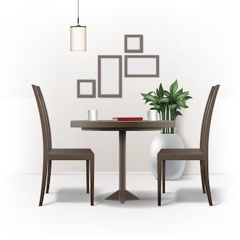 Wektor wnętrza jadalni z okrągłym brązowym drewnianym stołem, dwoma krzesłami, czerwoną książką, filiżankami kawy lub herbaty, lampą, rośliną w doniczce i ramkami do zdjęć na ścianie na białym tle