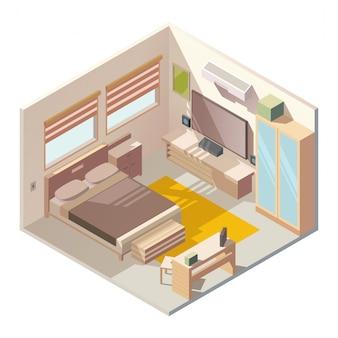 Wektor wygodne wnętrze izometryczny sypialni