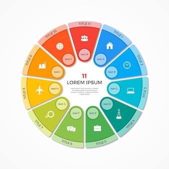 Wektor wykres kołowy koło infografika szablon z 11 opcjami