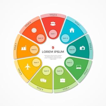 Wektor wykres kołowy koło infografika szablon z 9 opcjami
