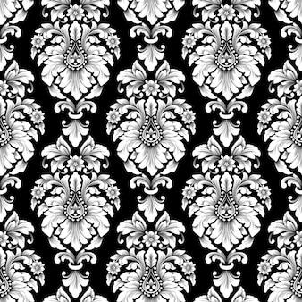 Wektor wzór adamaszku. klasyczny luksusowy staromodny ornament adamaszku, królewska wiktoriańska bezszwowa tekstura do tapet, tekstyliów, zawijania. wykwintny kwiatowy barokowy szablon.