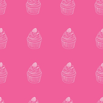 Wektor wzór ciastko. ręcznie rysowane słodkie babeczki bezszwowe tło na imprezę, urodziny, kartki okolicznościowe, opakowanie na prezent.