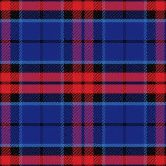 Wektor wzór czerwony i niebieski szkocka kratę