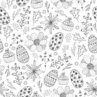 Wektor wzór doodle bezszwowe wielkanoc. ręcznie rysowane jajka, kwiaty, liście tło. koncepcja wakacje zaproszenie, karta, bilet, branding, logo, etykieta, godło. kolorowanka dla dorosłych dzieci