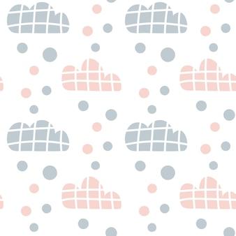 Wektor wzór dzieci z chmury i krople deszczu i kropki. śliczne skandynawskie bezszwowe tło w kolorze miętowym, różowym i szarym