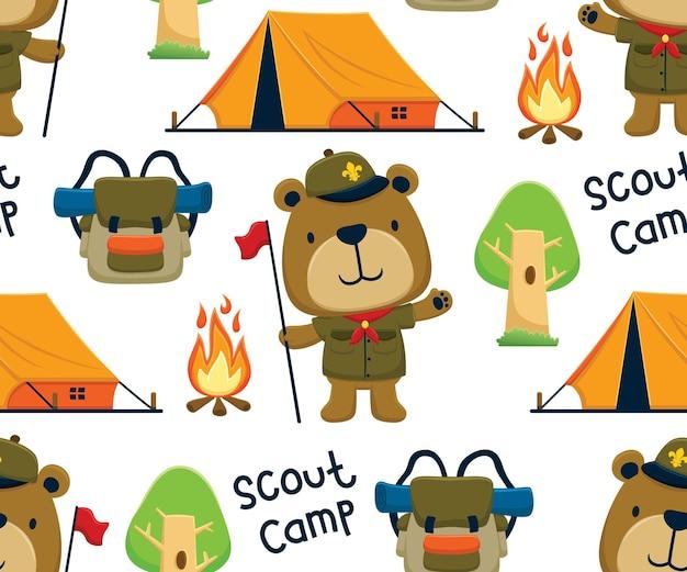 Wektor wzór elementów kempingowych z kreskówką niedźwiedzia harcerskiego