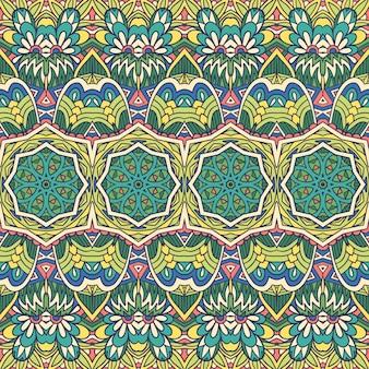 Wektor wzór etniczne kwiat kolorowy plemienny wydruku. projekt adamaszku z zielonymi mandalami