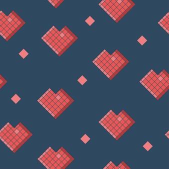 Wektor wzór geometrycznych czerwonych serc na ciemnoniebieskim. bezszwowe tło.