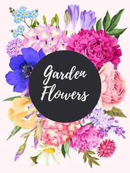 Wektor wzór karty z kwiatami ogrodowymi