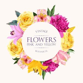 Wektor wzór karty z wysokiej szczegółowe róże alstroemeria piwonia i lilia