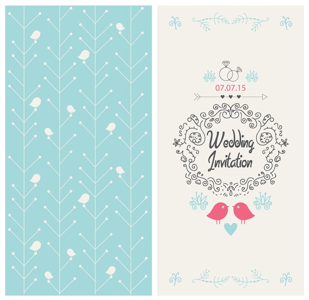 Wektor wzór karty zaproszenie na ślub z ptakami