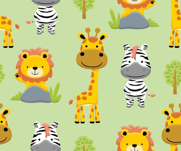 Wektor wzór kreskówki zwierząt safari