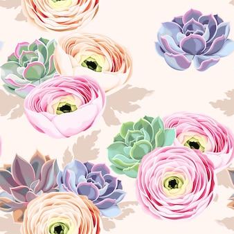 Wektor wzór kwiatów i sukulentów