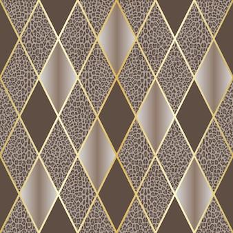 Wektor wzór lamparta ze złotymi geometrycznymi liniami ukośnymi